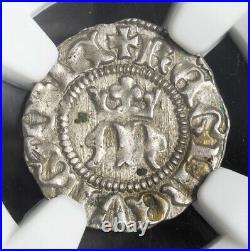 1395, Kingdom of Hungary, Maria Anjou. Beautiful Silver Denar Coin. NGC MS-62