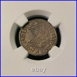 1595 If Sc Poland 3 Groschen Ngc Xf 45 High Grade Beautiful Coin