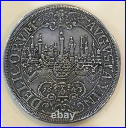 1643 Ngc Germany- Augsburg City View Thaler, Rare! Beautiful Coin