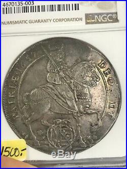 1657 Germany Taler NGC AU 58 Rare Silver Coin with beautiful rainbow toning