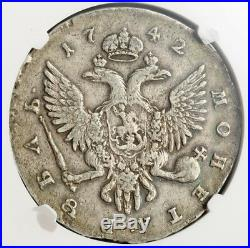 1742, Russia, Empress Elizabeth I. Beautiful Silver Rouble Coin. NGC VF-35
