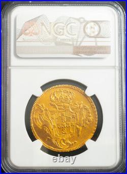 1757, Brazil, Prince Jose I. Beautiful Gold 6400 Reis (Peca) Coin. NGC AU-55