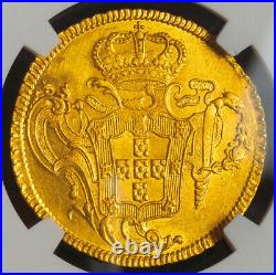 1759-R, Brazil, Prince Jose I. Beautiful Gold 6400 Reis (Peca) Coin. NGC AU+