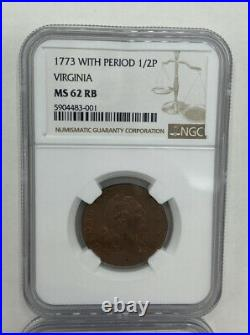 1773 Virginia Half Penny NGC MS62RB With Period. Beautiful Coin