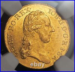 1787, Austria, Emperor Joseph II. Beautiful Gold Gold Ducat Coin. NGC MS-60