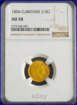 1806, Great Britain, George III. Beautiful Gold 1/3rd Guinea Coin. NGC AU-58