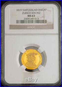 1819, Switzerland, Zurich (City). Beautiful Gold Zwingli Ducat Coin. NGC MS63