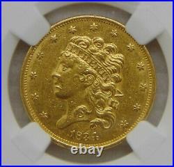 1834 Classic Head Gold Dollar $5 Half Eagle, NGC AU 55 Beautiful Coin