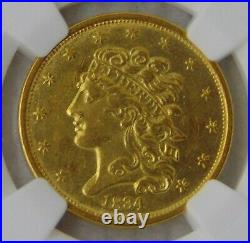 1834 Classic Head Gold Dollar $5 Half Eagle, NGC AU 58 Beautiful Coin