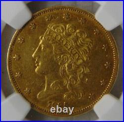 1835 Classic Head Gold Dollar $5 Half Eagle, NGC AU 55, Beautiful Coin