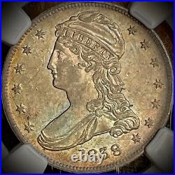 1838 Capped Bust Silver Half Dollar-beautiful Coin! Ngc Graded Au55-ships Free
