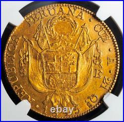 1845, Peru (Republic). Beautiful Large Gold 8 Escudos Coin. (27gm!) NGC AU-53