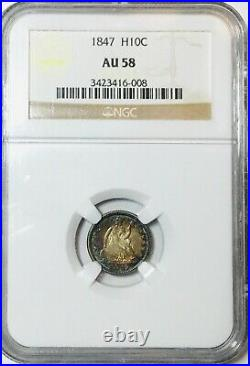 1847 Seated Half Dime H10 NGC AU58 Beautiful Colors Great Coin