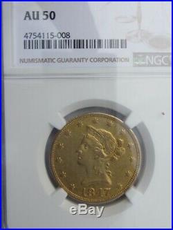 1847-o Liberty Gold Eagle $10 Dollar Beautiful Coin Ngc Au50 Rare Early Date