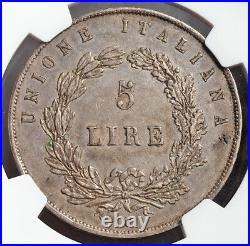 1848, Venice (Provisional Government). Beautiful Silver 5 Lire Coin. NGC AU-55
