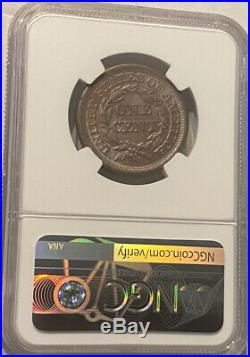 1850 CAC NGC MS 63 + BN Braided Hair Large Cent Coin Beautiful Gem Nice Luster