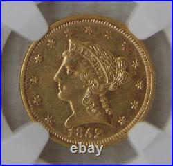 1852 GOLD $2.5 Liberty HEAD QUARTER EAGLE, NGC AU55 Beautiful Coin
