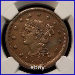 1853 Braided Hair Large Cent 1c Ngc Au 58 Bn High Grade Beautiful Coin