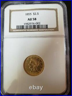 1855 Liberty Gold Quarter Eagle NGC AU 58 Beautiful Coin
