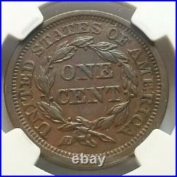 1856 Ngc Au58 Bn Braided Hair Large Cent Upright 5 Beautiful Nice Coin