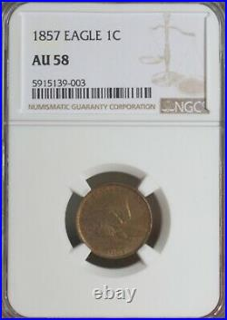 1857 Flying Eagle Cent NGC AU 58 BEAUTIFUL COIN