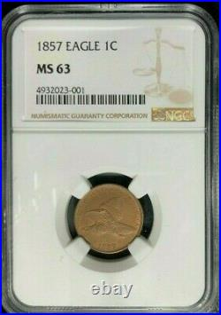 1857 Flying Eagle Cent Ngc Ms 63 Beautiful Coin