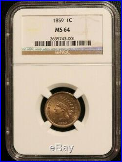 1859 indian head cent. NGC MS64. Beautiful Coin. Great Type Coin BA3