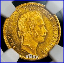 1862, Austrian Empire, Franz Josef I. Beautiful Gold Ducat Coin. NGC MS-61