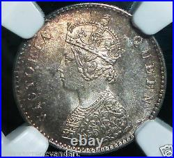 1862 NGC UNCIRCULATED MS-64 India 2 Anna TONED BEAUTIFUL COIN