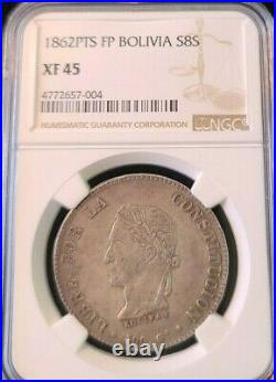 1862 Pts Fp Bolivia Silver 8 Soles S8s Ngc Xf 45 High Grade Beautiful Coin