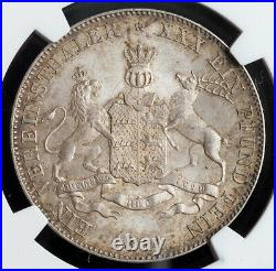 1864, Kingdom of Wurttemberg, Charles I. Beautiful Silver Thaler Coin. NGC MS64