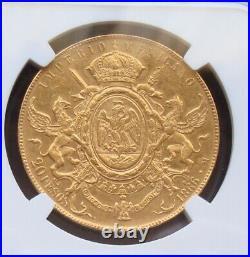 1866 Mexico RARE Beautiful coin $20 Pesos Maximiliano Emperor NGC AU58