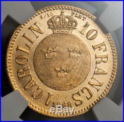 1868, Sweden, Charles XV. Beautiful Gold 10 Francs Carolin Coin. NGC AU-58