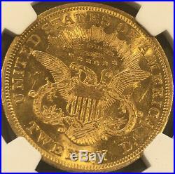 1869 $20 Gold Double Eagle- AU58+ (PLUS) (Population 1 NGC)! Beautiful Coin