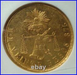 1871 MoM Mexico RARE Beautiful coin $20 Pesos Gold NGC MS62