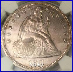 1871 Seated Liberty Dollar NGC AU53 Beautiful Problem Free High Graded Coin