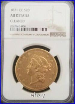 1871-cc Liberty Double Eagle 20 Dollar Gold Beautiful Coin Au Very Rare Date