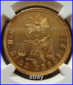 1872/1 MOM/C Mexico RARE Beautiful coin $10 Pesos Gold NGC MS61