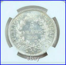 1873 France Silver 5 Francs Hercules Ngc Ms 63 Bright Beautiful Coin