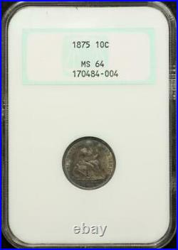 1875 Seated Liberty Dime NGC MS64 OGH TONED BEAUTIFUL COIN! #484-004