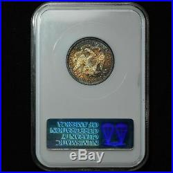 1877-S Seated Liberty Quarter NGC MS61 STUNNING TONING Beautiful Coin