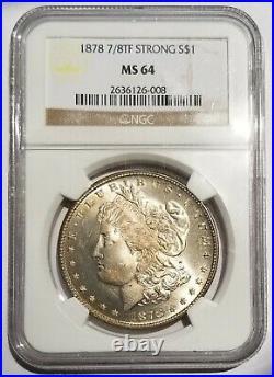 1878 7/8tf Strong Morgan Dollar Ngc Ms64 Blazing Luster Beautiful Nice Coin