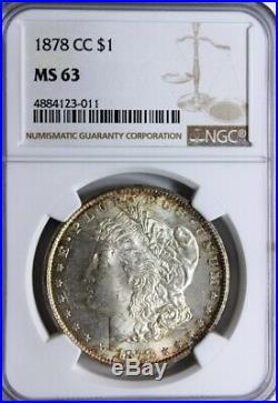 1878-CC, $1, MORGAN SILVER, NGC MS 63, Rim Toning Both Sides, Beautiful Coin
