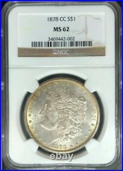 1878-cc Morgan Silver Dollar Ngc Ms 62 Beautiful Coinref#42-002