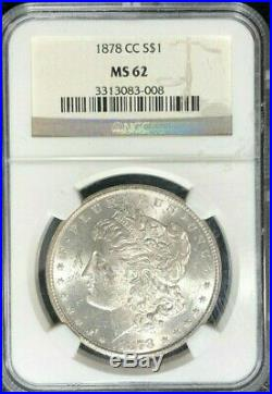 1878-cc Morgan Silver Dollar Ngc Ms 62 Beautiful Coinref#83-008