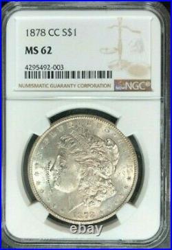 1878-cc Morgan Silver Dollar Ngc Ms 62 Beautiful Coinref#92-003
