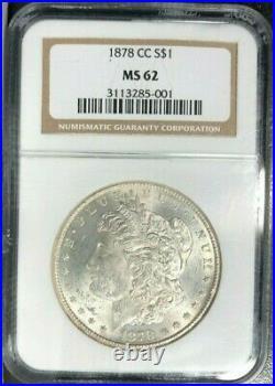 1878-cc Morgan Silver Dollarngc Ms 62beautiful Coin Ref#85-001