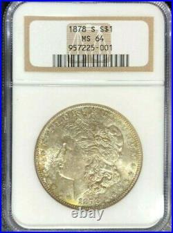 1878-s Morgan Silver Dollar Ngc Ms 64 Beautiful Tone Coin Ref#001