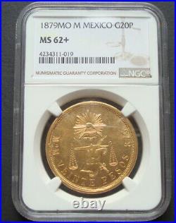 1879 MOM Mexico RARE Beautiful Coin $20 Pesos Gold NGC MS62X