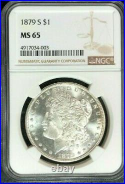 1879-s Morgan Silver Dollar Ngc Ms 65 Beautiful Coin Ref#34-003